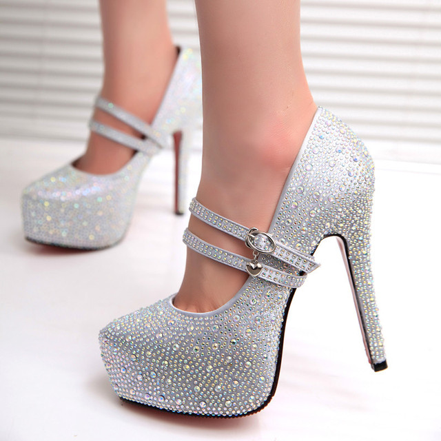 4a34977a426 2014new women fashion high heels prom wedding shoes ladies crystal  platforms silver glitter rhinestone studded wedge party pumps