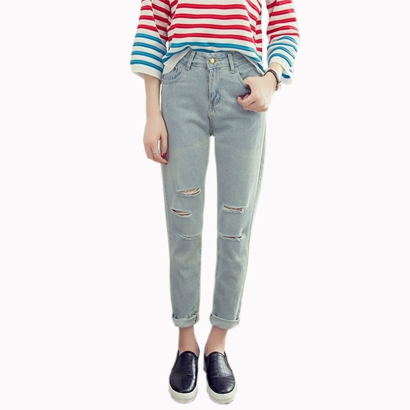 HziriP 2017 New Washed Ripped Jeans Women Autumn Winter Hot Sale Hole Casual Loose Denim Pants Student High Waist Trousers S-XL autumn new fashion cotton jeans women loose low waist washed vintage big hole ripped long denim pencil pants casual girl pants