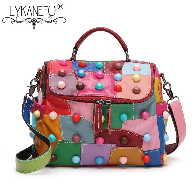 LYKANEFU Patchwork Genuine Leather Bag Women Messenger Bags Punk Style Colorful Rivet Tote Handbag Shoulder Bag Cross body Purse genuine leather women s shoulder bag fashion patchwork plaid women cross body bags colorful tote lady messenger bag
