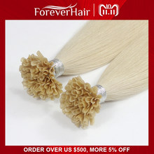 "FOREVER HAIR 0.8g/s 16"" 18"" 20"" Remy Nail Tip Human Hair Extension European Human Keratin U Tip Pre Bonded Hair Extension 50pcs(China)"