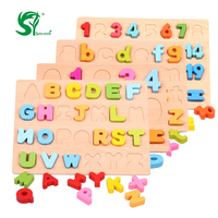 Wooden English Alphabet Puzzles Toys For Children Montessori Digital Board Learning Letters Educational Puzzle Toy Baby