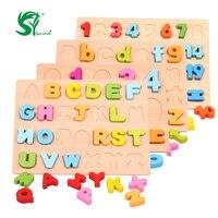 나무 영어 알파벳 퍼즐 장난감 몬테소리 디지털 보드 학습 문자 교육 퍼즐 장난감 아기 아이 장난