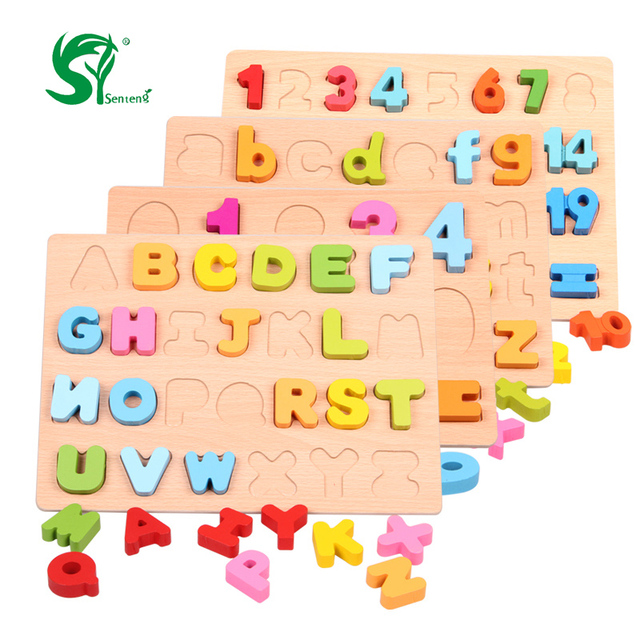 2a1a5a62bd2 Wooden English Alphabet 3D Puzzles toys for children Montessori digital  Board Learning letters Educational puzzle Kids Toy