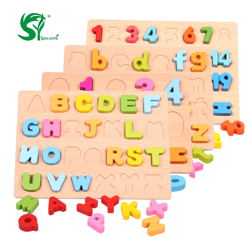Wooden English Alphabet Puzzles toys for children Montessori font b digital b font Board Learning letters