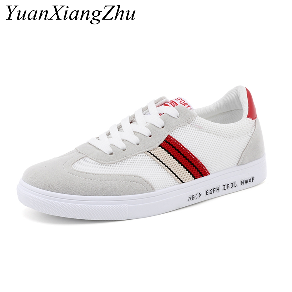 Men Casual Shoes 2018 Summer Breathable Mesh Men Shoes Korean New Striped Stitching Comfort Lace Fashion Boys Light Tennis Shoes
