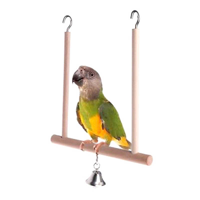 18x12.5cm Natural Wooden Cage Hanging Swing Bell Birds Perch Parrot Stand Holder  Play Toys