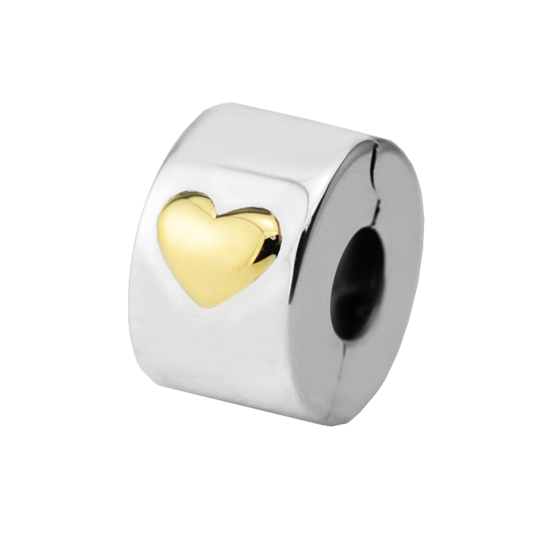 bb6690b0af0 Fits For Pandora Bracelets Classic Heart Clip Charms with 14K Real Gold  100% 925 Sterling Silver Jewelry Beads Free Shipping-in Beads from Jewelry  ...