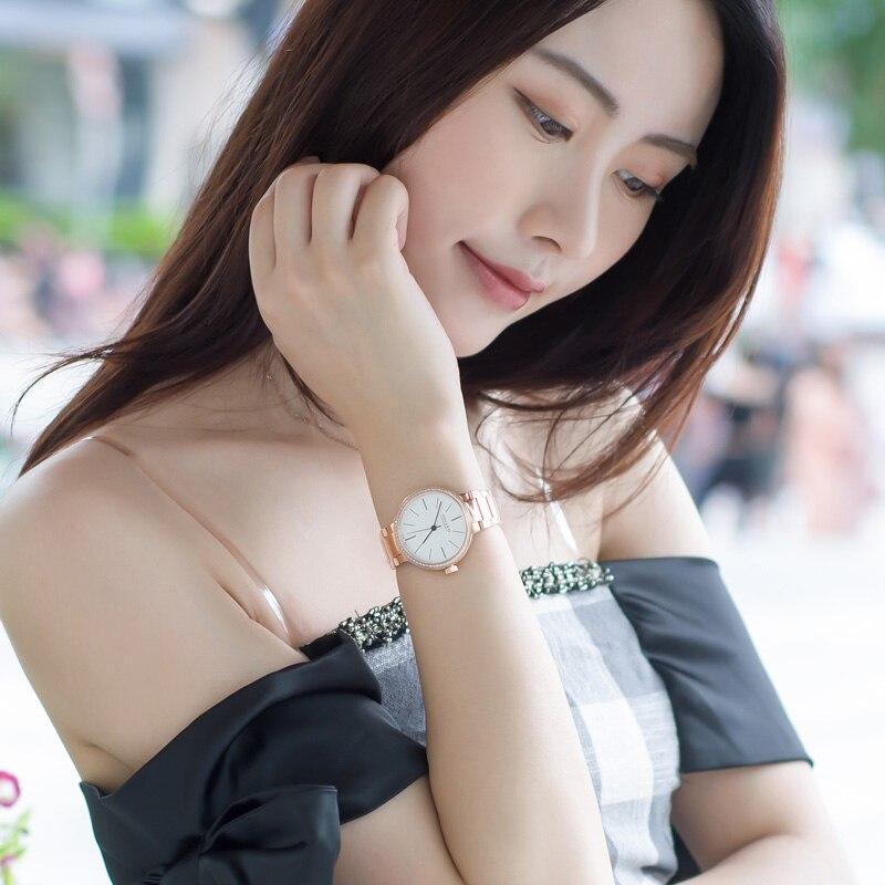 Kobiet zegarka marque or Rose montres femmes horloge fille décontracté mécanique montre dames robe en acier montre-bracelet cadeau