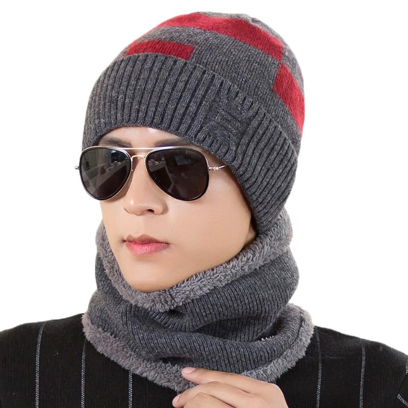 Apparel Accessories Shop For Cheap Winter Fashion Warm Women Men Hat scarf Sets Knit Solid Color Boy Plush Thick Cap O-ring Collars Suit Adult 2pcs Crochet Hats Men's Accessories