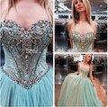Moda Completo de Bola de Cristales Del Vestido Vestido de Fiesta de Lentejuelas Con Cuentas Sexy Graduación Vestidos de festa vestido longo 2016 Por Encargo