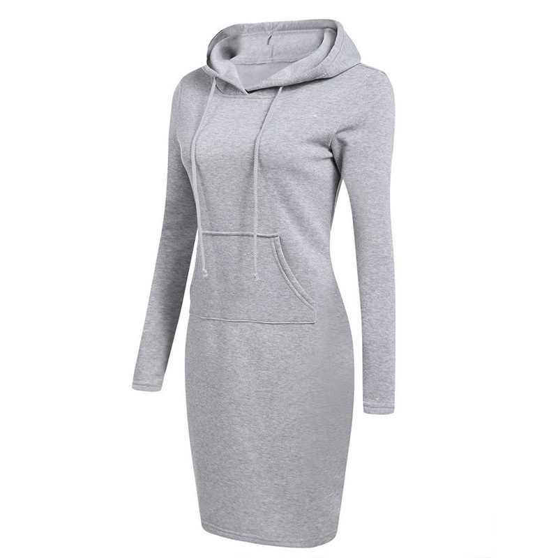 Laamei 2019 Lange Mouw Hooded Trekkoord Fleeces Vrouwen Jurken Herfst Winter Warme Kleding Vrouwen Vestidos Hoodies Sweatshirt Jurk