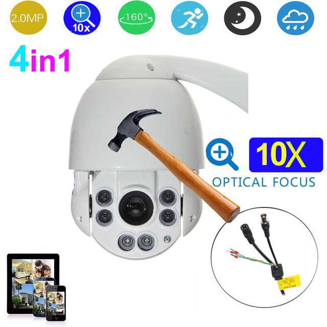 4.5 inch 4in1 Waterproof outdoor security camera 2MP 10x Auto zoom IR 50m HD PTZ Camera Medium Speed dome Camera 4 in 1 ir high speed dome camera ahd tvi cvi cvbs 1080p output ir night vision 150m ptz dome camera with wiper