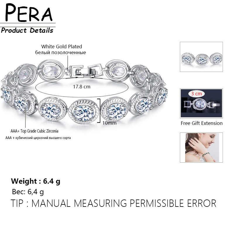 Pera mode été Style bijoux de haute qualité couleur or blanc grand rond mignon 0.8 ct Tennis breloque bracelets pour femme cadeau B082