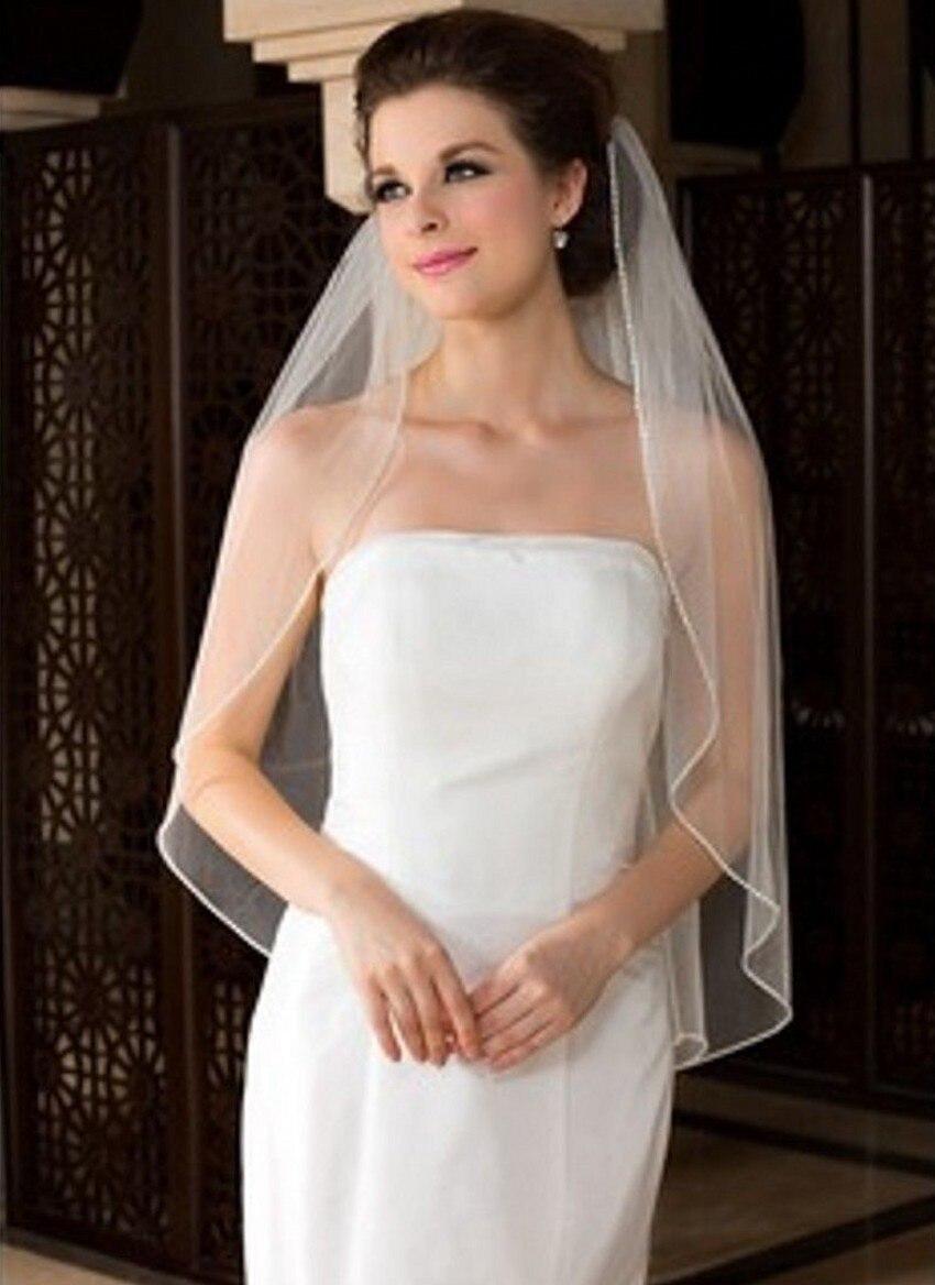 2017 Новый Стиль Длинные Фаты Один Слои С Срезанный Край Фата Гладкокрашеные Свадебные Аксессуары Белого Цвета