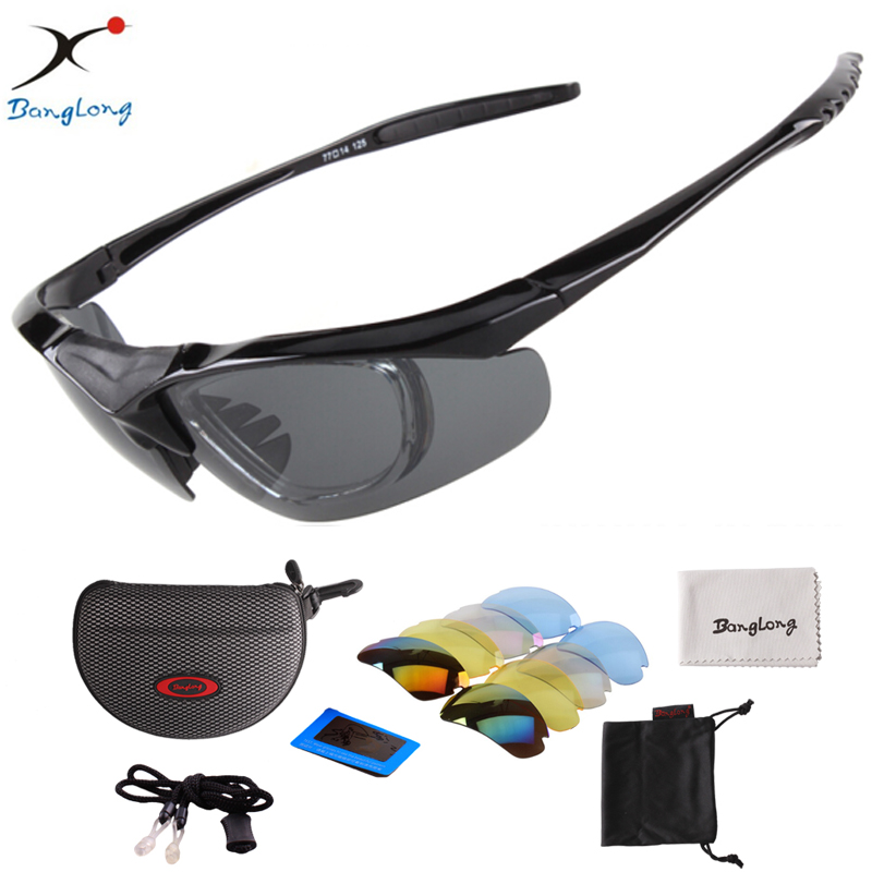 05fc7bea7 UV400 BangLong Andar de Bicicleta Óculos Esportes óculos Polarizados óculos  de Sol Ao Ar Livre Óculos com Lentes Intercambiáveis 5 para Bicicleta Pesca
