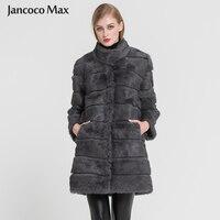 Jancoco Max Новинка 2018 года зима Настоящее Кролик теплая меховая куртка мягкие длинные Мех животных пальто для женщин рождественское платье S1675