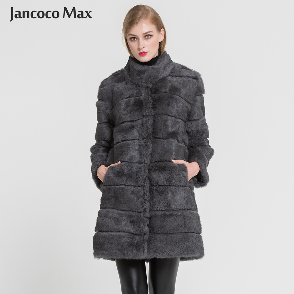 Jancoco Max 2018 New Winter Real Rabbit Fur Jacka Varm Soft Long Fur Coat Kvinnor Julklänning S1675