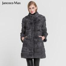 Jancoco Max 2018 новая зимняя куртка с натуральным кроличьим мехом теплая мягкая длинная меховая женская Рождественская одежда S1675