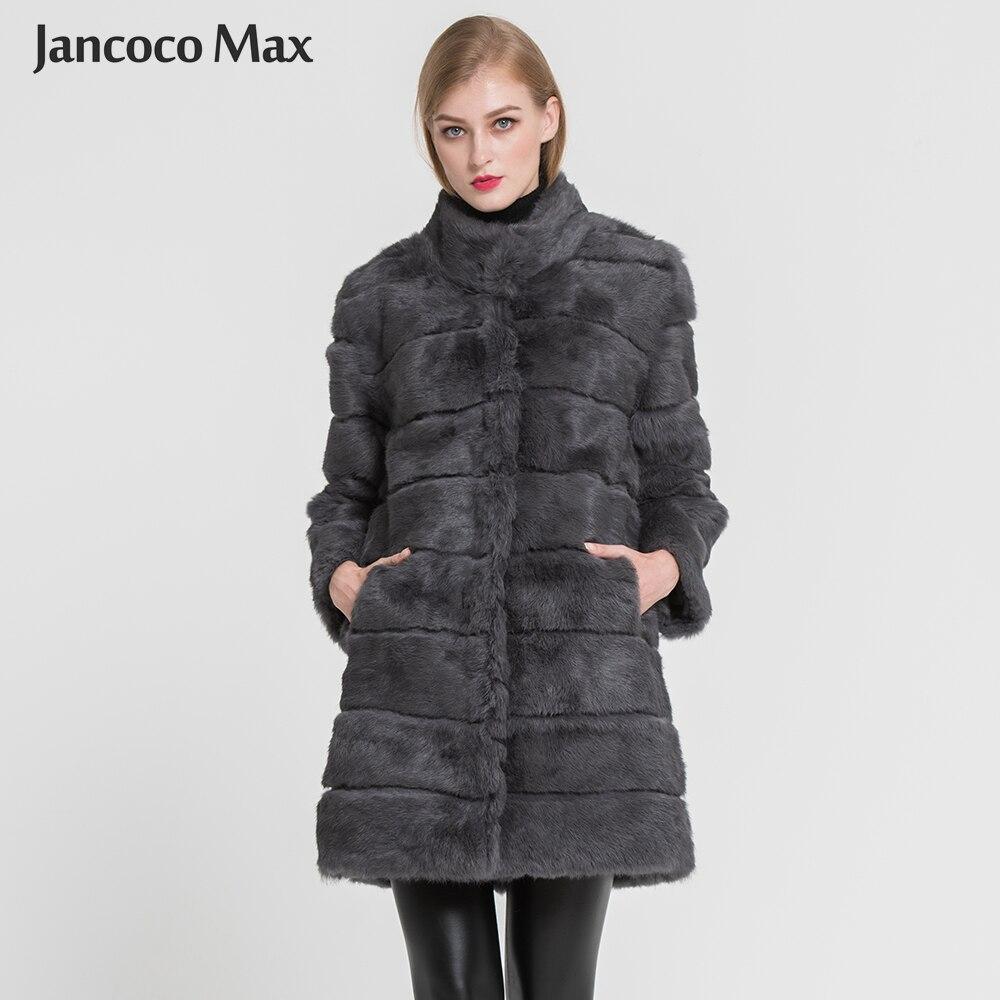 Jancoco Max 2018 del Nuovo di Inverno Reale Del Coniglio Giacca di Pelliccia Caldo Morbido Lungo Cappotto di Pelliccia Delle Donne Di Natale del Vestito S1675