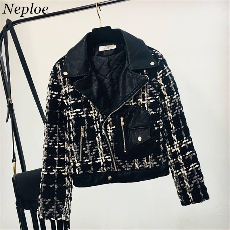 Neploe Thicken Pu Leather Jacket Zipper Design Coat New Korean Plaid Women Clothes Female Fashion Elegant