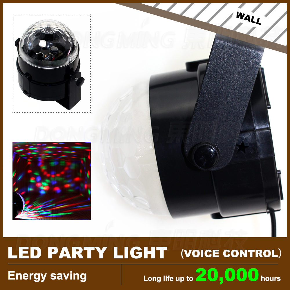 3W Colorful RGB Stage LED Crystal Ball Light for DJ Disco KTV Xmas Party Wedding Show Club Pub Lamp--Voice-activated Rotating