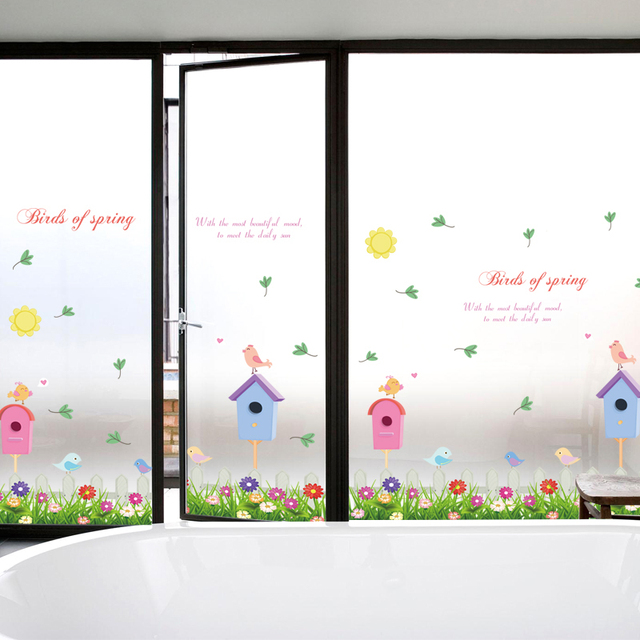 Wall Decals Pvc Stickers Spring Birds House Decorative Window