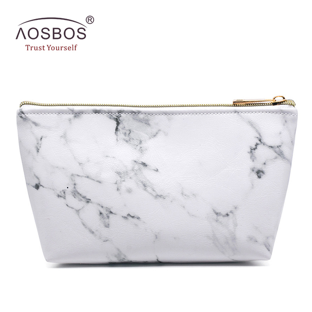 be091a2aa5f5 Aosbos Marble Pattern PU Leather Cosmetic Bags New Fashion Zipper Travel  Organizer Storage Bag Women White