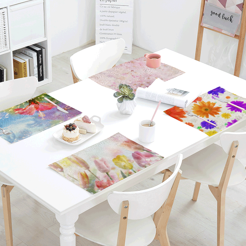 Popular Flower Beautiful Rose Printed Table Napkins Wedding Placemat Dining Tablecloth Decoration Coffee Western Restaurant Mats