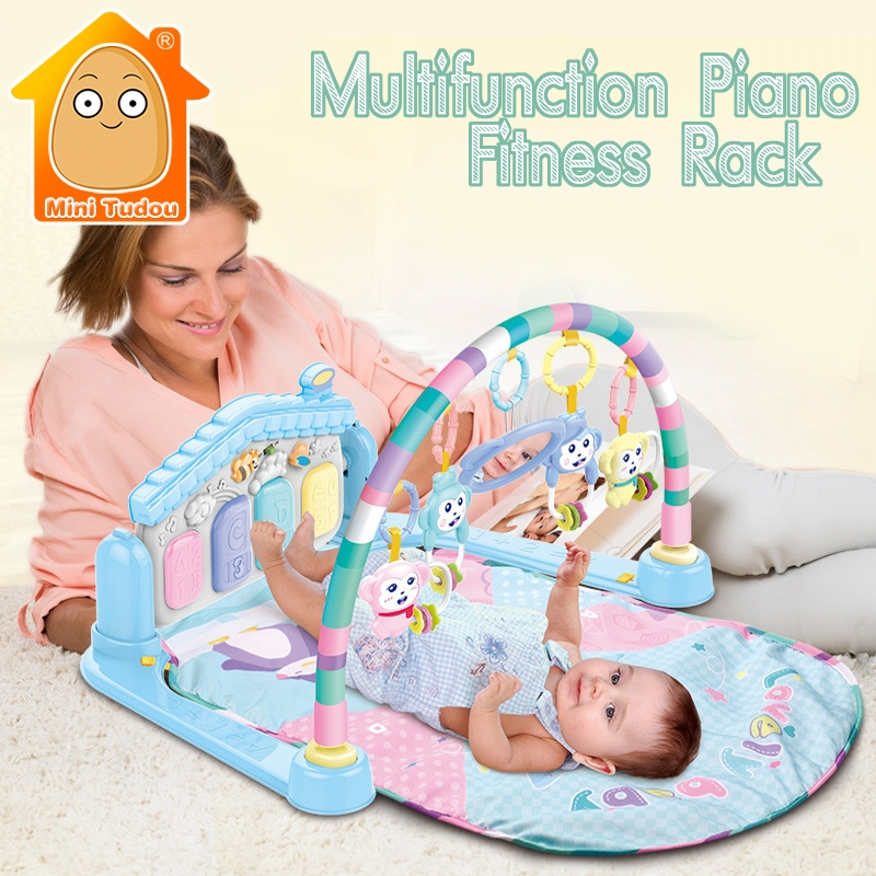 Newborn Musical Baby Piano Mat Kids Play Rug Baby Multifunction Piano With Rattle Activity Children's Mat Carpet baby kids toy musical piano activity cube play center with lights mulitfunctions