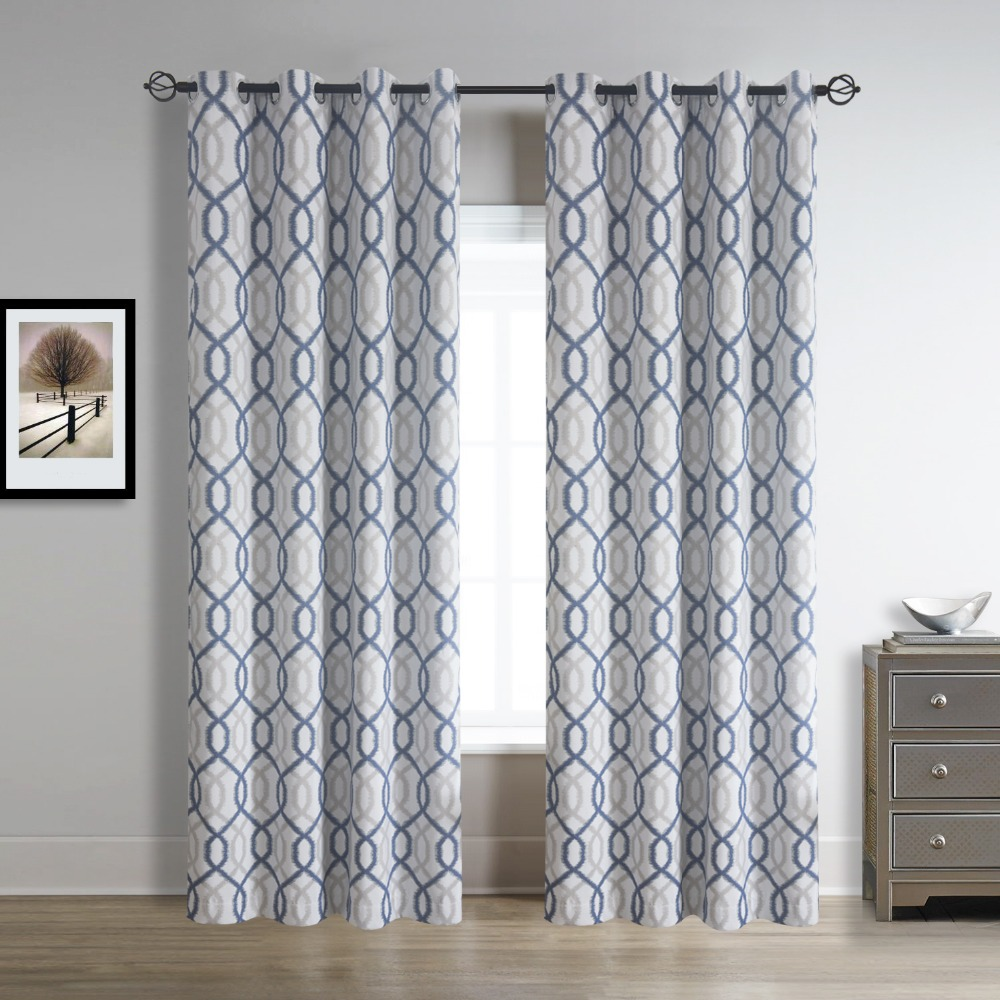 Wave Faux Linen Blackout Window Curtain For Bedroom And