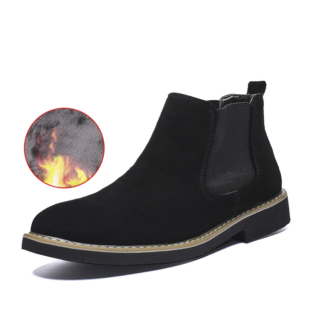 cf91a1b0612 US $25.82 50% OFF|High Quality Men's Short boots comfortable Suede Leather  Chelsea Boot Plush Fur Warm Winter boots Slip on Oxfords-in Chelsea Boots  ...