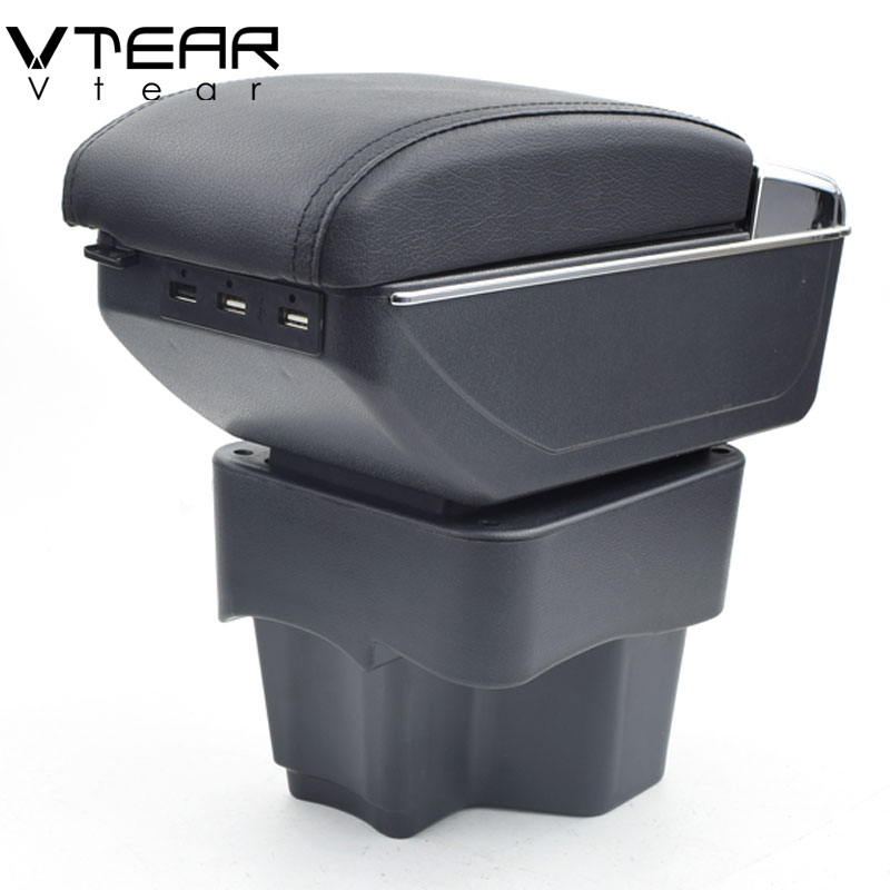 Vtear For Kia Rio 3 K2 armrest box USB Charging interface heighten central Store content box