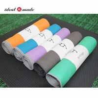 Wholesale Good Quality plain color extra soft waffle yoga mat towel with sillicon anti slip yoga blanket 183x61cm