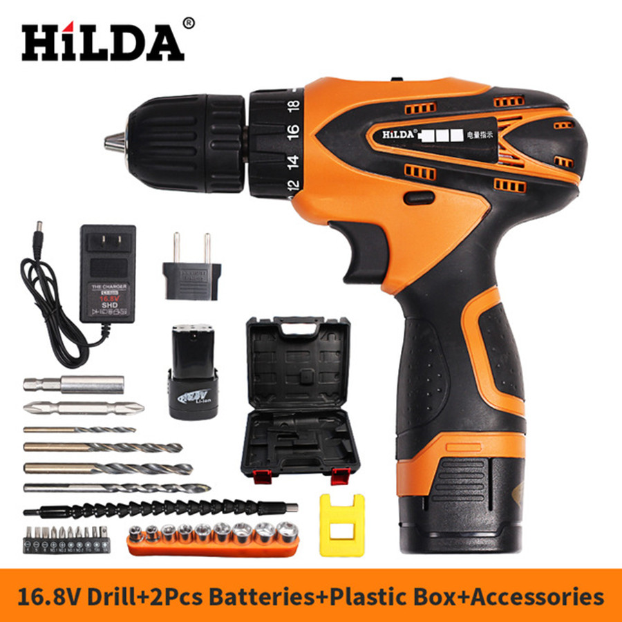 HILDA 16.8V Electric screwdriver Electric Drill Cordless Screwdriver Power Tools with 2pcs Lithium Battery and Drill Bit Case