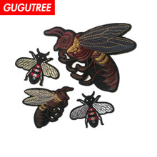GUGUTREE embroidery bee patches animal cartoon badges applique for clothing ST-1