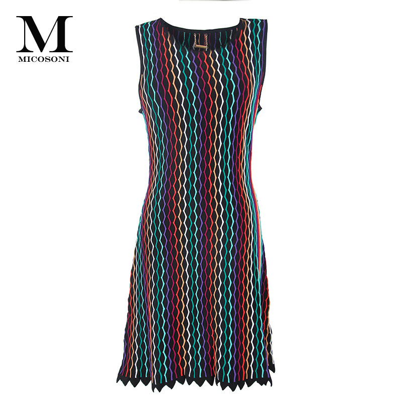 Micosoni Italien Gestrickte 2018 Herbst Neue frauen Natürliche Taille Ärmelloses Kleid. Blau Rot Schwarz Grün Lila Welle Streifen XS L-in Kleider aus Damenbekleidung bei  Gruppe 1
