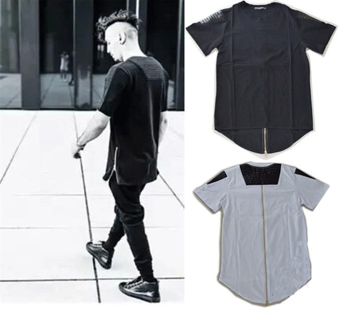 2017 Hip hop Hommes Étendus t-shirt tyga Or zipper T-shirt Butin Fold Casual pu Patchwork Noir En Cuir Surdimensionné T chemise