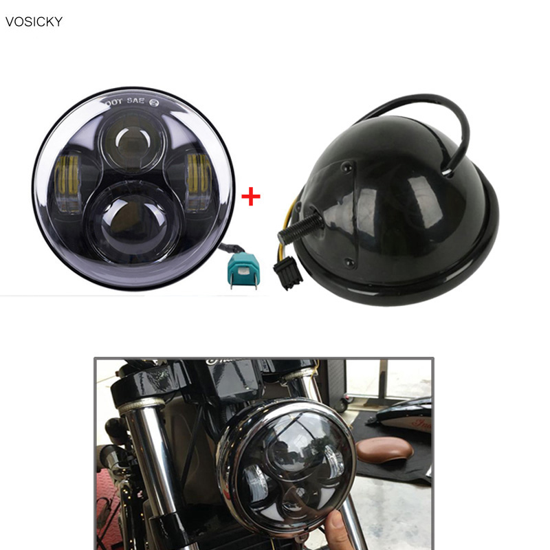 ФОТО VOSICKY 5.75 inch headlight housing bucket with  5.75 inch led Headlight Drl Daymaker DOT for harley motorcyle