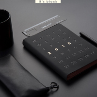 A5 Decent Convenient Journal Note Book Notepad Time Planning Hard Diary Calendar Month Planner Schedule wiht Black Gold Pen