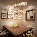 Популярное бриллиантовое кольцо светодиодный хрустальный подвесной светильник Современные светодиодные круги Подвесная лампа фойе освещ...