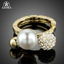 AZORA Pave Setting Crystal Round Ball Ring Gold Color Wedding Bridal Pearl Ring Sets for Women Engagement Stackable Rings TR0197(China)