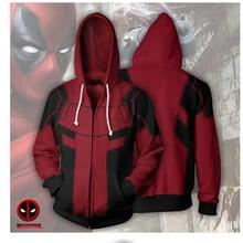 Deadpool 3D Print Deadpool Hoodies Zipper Fashion Men's Jacket Coat Boys Cosplay Costumes Hooded Sweatshirts Tops S-5XL