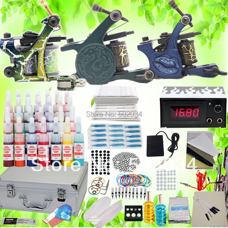 ФОТО USA Dispatch Professional complete Cheap Tattoo Kits 3 Gun Machines 28 Ink Sets Equipment Needle power supply grips tip K102