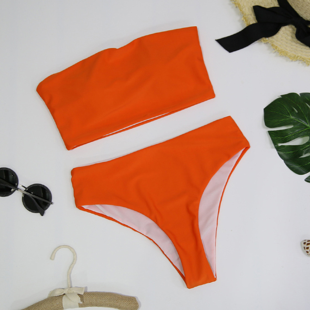 High Leg Bandeau bikini set female two pieces swimsuit High Waist Bikini 5