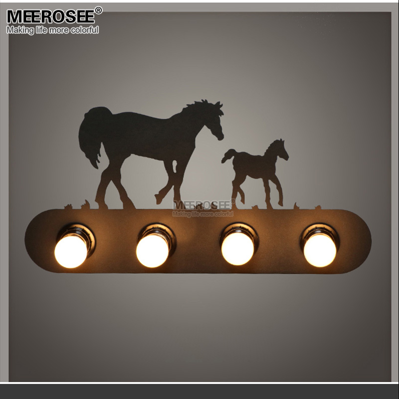 Creative Metal Wall Light Fixture Bedroom Horse Lamp Sconces Kronleuchter Lighting For Stairs Hallway Porch Aisle Lamp modern bedside lamp wall light minimalist fabric shade wall sconces lighting fixture for balcony aisle hallway wall lamp wl214