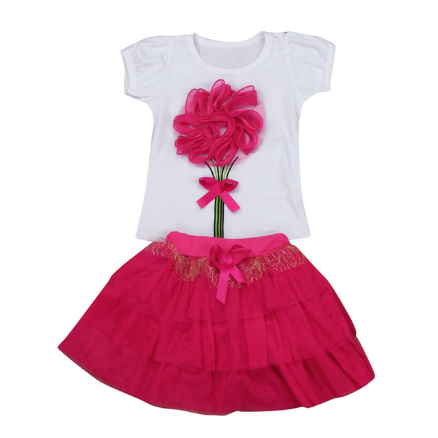 abc47134b Baby Kids Girls Floral Baby Kids Girl Dress Short Sleeve Top T-Shirt+Skirt  Outfits Clothes Set Fashion Cute hello kitty P3