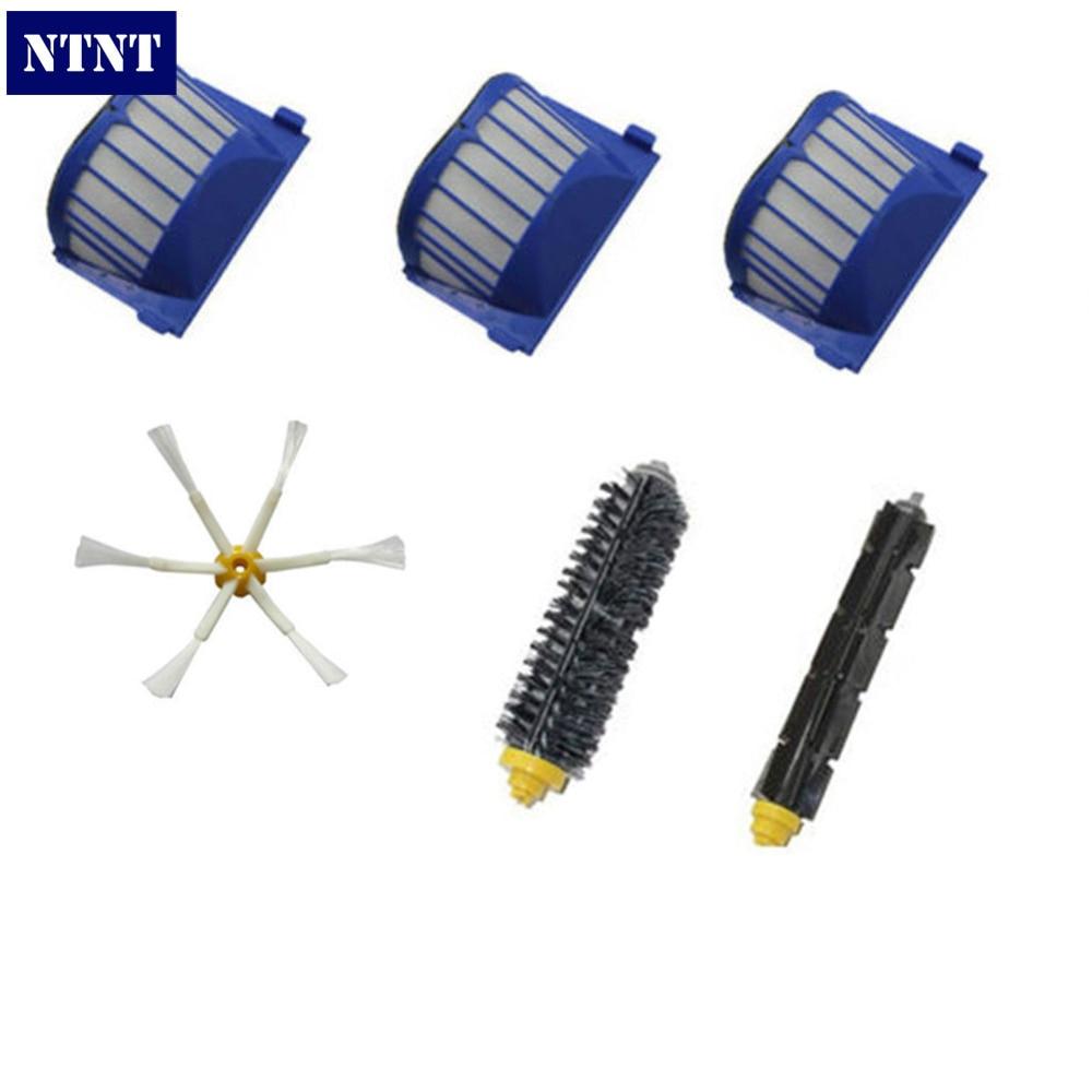 NTNT For iRobot Roomba 600 Series AeroVac Filter + Brush 6 armed kit 620 630 650 660 bristle brush flexible beater brush fit for irobot roomba 500 600 700 series 550 650 660 760 770 780 790 vacuum cleaner parts