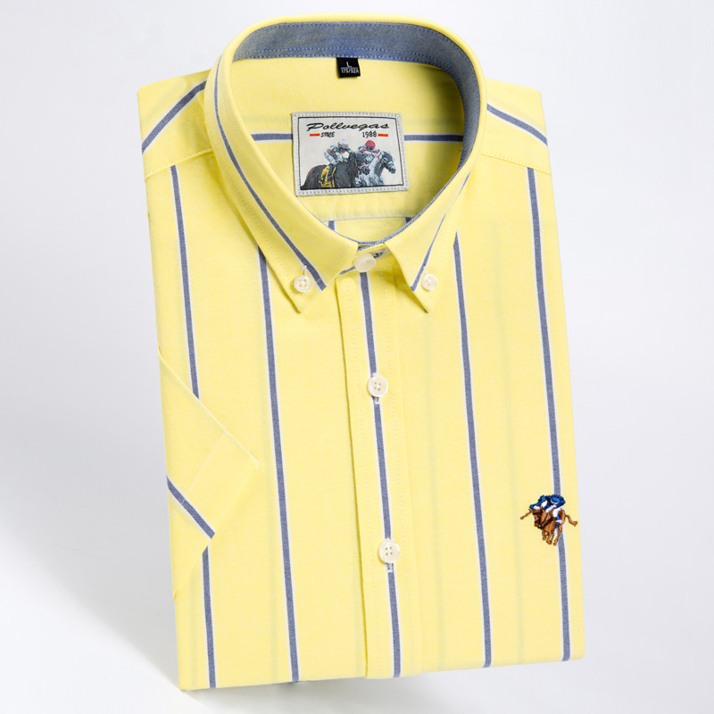 Fashion High Quality Pure Cotton Solid Color Stripe Twill Casual Business Oxford Short Sleeve Dress Shirts Slim Yellow Pink Blue