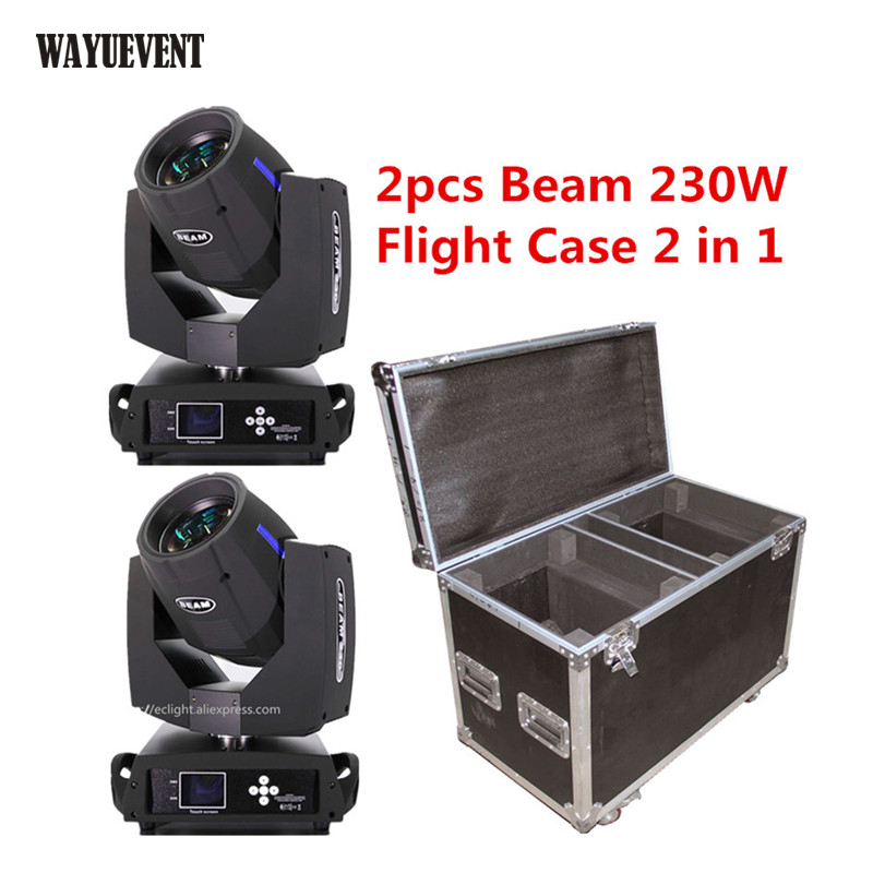 2pcs Touch Screen Sharpy <font><b>beam</b></font> <font><b>230</b></font> moving head with Flight case 16CH/20CH Touch Screen 7R Moving Head Stage Lighting effect image
