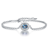 0.8ct Natural Blue Topaz Chain Bracelets for Party 925 Sterling silver jewelry Oval Gemstone Bracelets& Bangles for Women